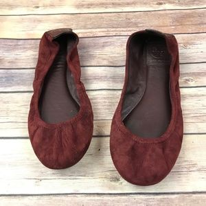Tory Burch Wine Red Suede Ballet Flat Shoes Size 8